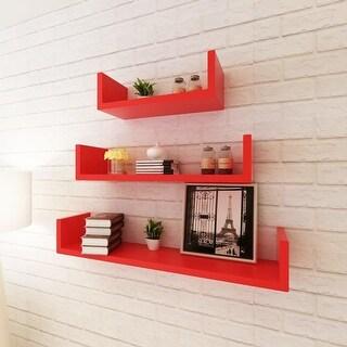 vidaXL 3 Red MDF U-Shaped Floating Wall Display Shelves Book/DVD Storage (Option: White)