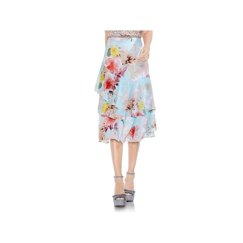 Vince Camuto Womens Tiered Skirt Floral Print Midi
