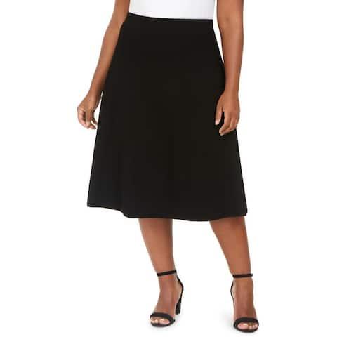 Anne Klein Womens Plus A-Line Skirt Texured Pintuck - Anne Black
