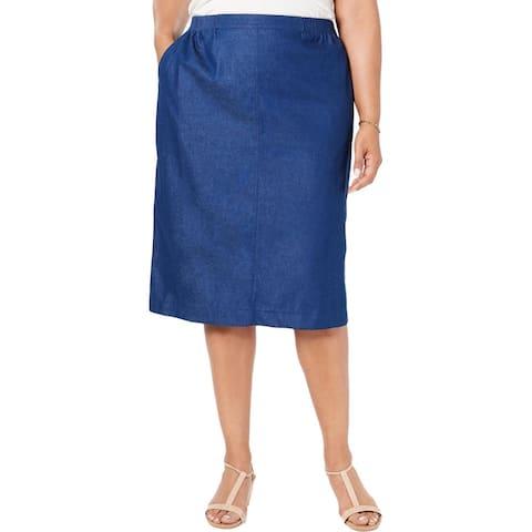 Alfred Dunner Womens Plus Denim Skirt Stretch Jean