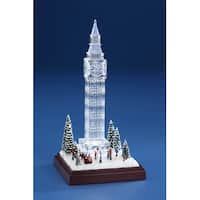 """Set of 2 Clear and Brown Frosted Winter Big Ben Table Top Decor 9"""""""