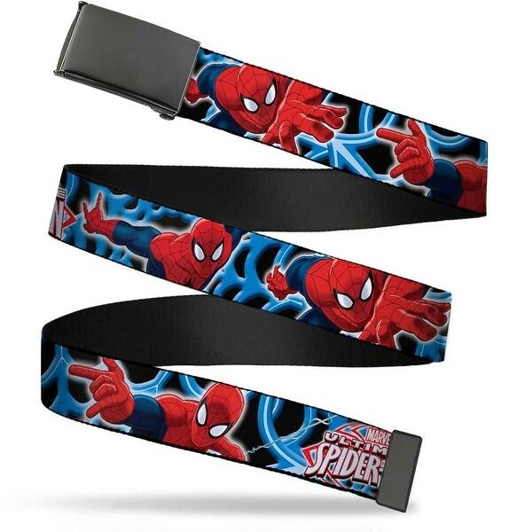 Blank Black Buckle The Ultimate Spider Man Poses Spider web Black Web Belt