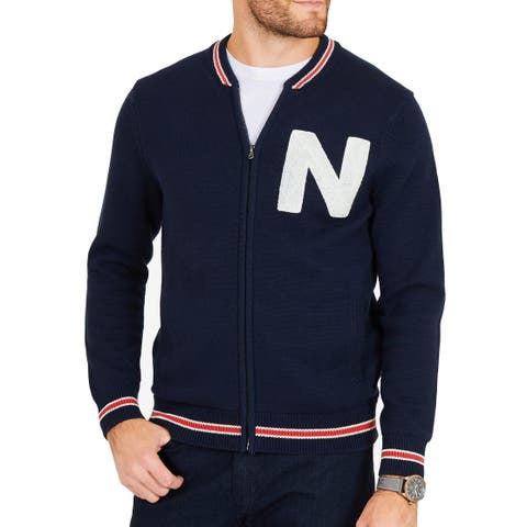 Nautica Mens Navy Blue Size Medium M Varsity/Baseball Cotton Jacket