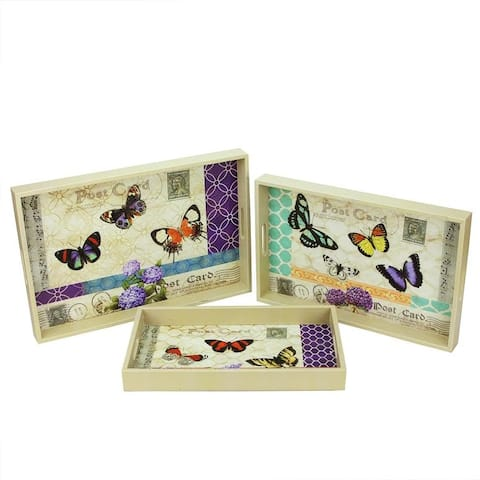 Set of 3 Vintage-Style Butterfly Rectangular Serving Trays 19""