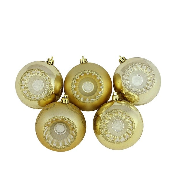 "5ct Shiny and Matte Vegas Gold Retro Reflector Shatterproof Christmas Ball Ornaments 3.25"" (80mm)"