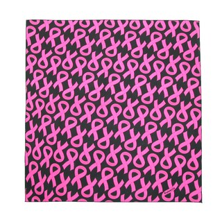 CTM® Women's Cotton Pink Ribbon Breast Cancer Awareness Bandanas - One size (Option: Black)