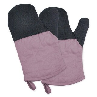 """Set of 2 Mauve and Black Heat Resistant Neoprene Ovenmitts with Rubber Shell 11.25"""""""