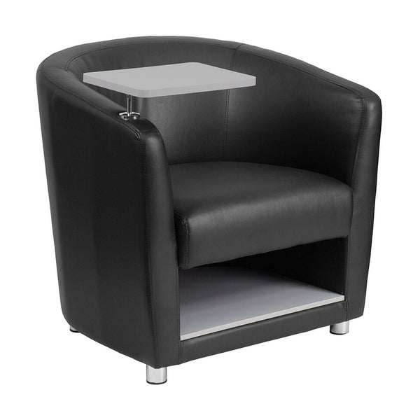 Offex Black Leather Guest Chair with Tablet Arm, Chrome Legs and Under Seat Storage [OF-BT-8220-BK-GG]