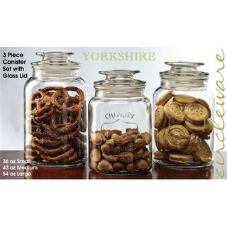 Circleware 92042 Yorkshire Canisters with Glass Lid - Set of 3