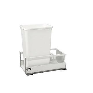 "Rev-A-Shelf TWCSC-15DM-1 TWCSC Series Bottom Mount Single Bin Trash Can with Blum TANDEM Slides for 15"" Base Cabinets - 35 Quart"