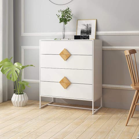 Solid wood special shape square handle design with 4 drawers bedroom furniture dressers