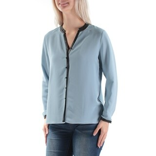 Womens Light Blue Long Sleeve V Neck Wear To Work Blouse Top Size 2