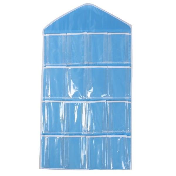 Household Socks Underwear 16 Pockets Hanging Storage Bag Holder Pouch Case  Blue