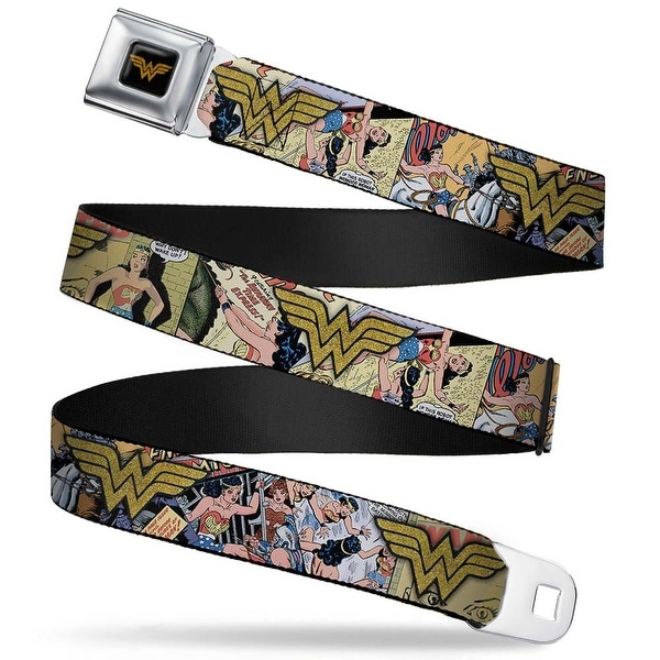 Wonder Woman Logo Full Color Black Gold Sparkle Wonder Woman 4 Poses Seatbelt Belt