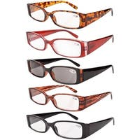 Women Spring Hinge Plastic Reading Glasses (5 Pack Mix) Includes Sunglass Readers+1.00