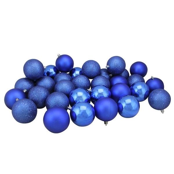 "96ct Lavish Blue 4-Finish Shatterproof Christmas Ball Ornaments 3.25"" (80mm)"