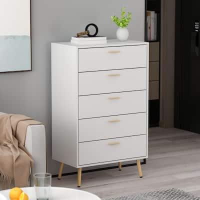 Kerrogee 5-Drawer Chest - Modern Wooden Storage Dresser