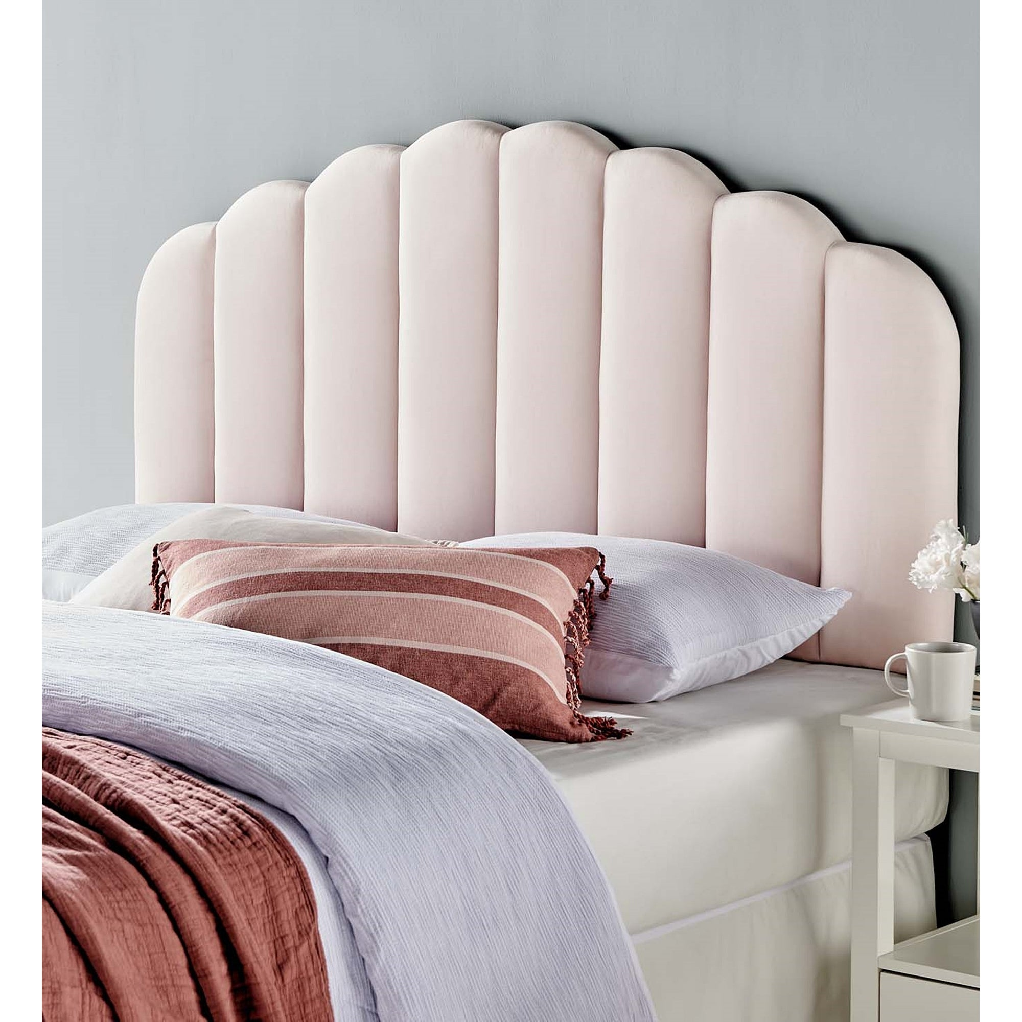 Burney Scalloped Pink Velvet Upholstered Full Queen Size Headboard On Sale Overstock 31684736