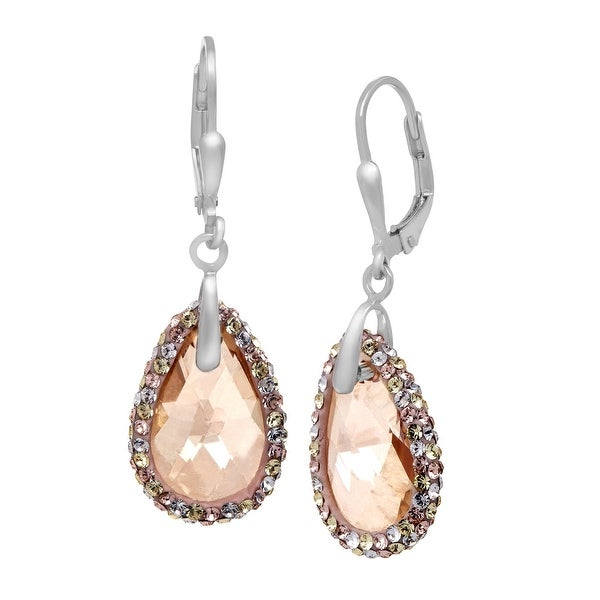 Crystaluxe Drop Earrings with Swarovski Crystals in Sterling Silver - Honey