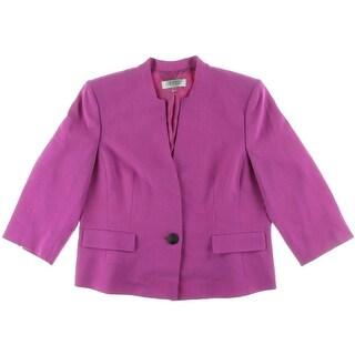 Kasper Womens Petites Crepe Lined One-Button Blazer