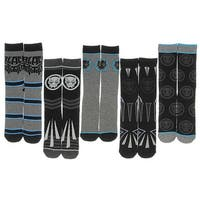 Black Panther Marvel Comics Movie Character Costume Adult Crew Socks 5 Pair