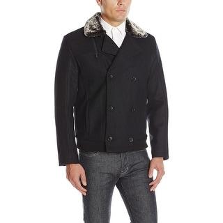 Calvin Klein Mens Wool Blend Faux Fur Collar Car Coat Black Solid Large L