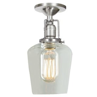 """JVI Designs 1202-17-S9 Union Square 1 Light Semi-Flush 9.5"""" Tall Ceiling Fixture with Clear Mouth-Blown Glass Shade - Grey"""
