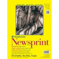 "50 Sheets - Strathmore Rough Newsprint Paper Pad 9""X12"""