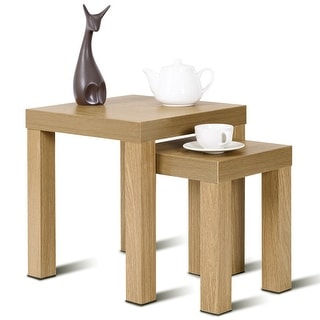 Costway Set of 2 Nesting Coffee End Table Side Tables Living Room Home Decor Wood Color - Wood color