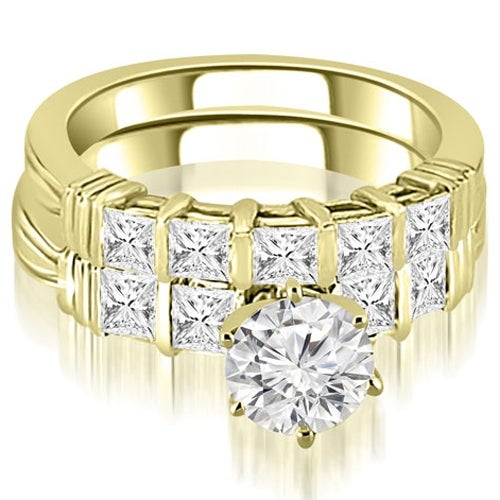 2.55 cttw. 14K Yellow Gold Bar Set Round & Princess Cut Diamond Bridal Set