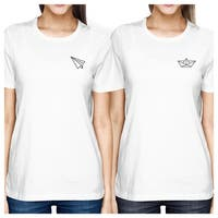 Origami Plane And Boat White Cute Graphic BFF Matching Shirts Ideas
