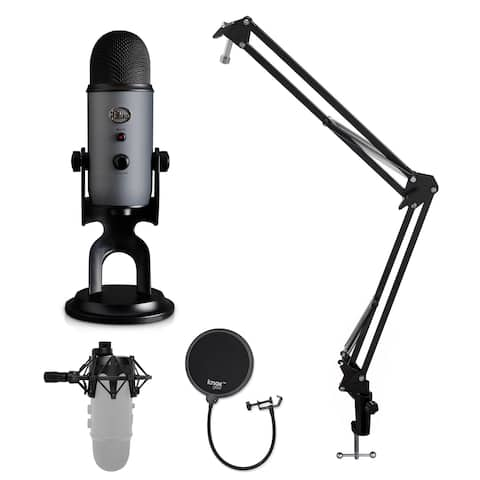 Blue Microphone Yeti USB Microphone w/ Shock Mount, Stand & Pop Filter