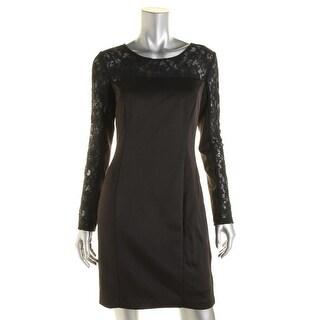 Jessica Simpson Womens Lace Yoke Long Sleeves Cocktail Dress - 6