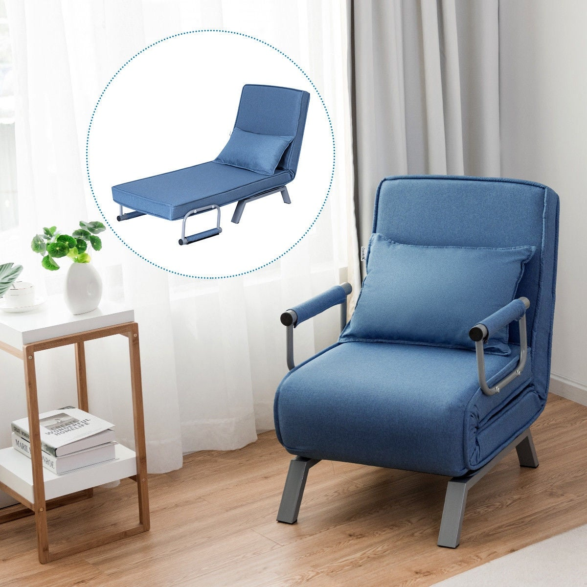 Costway Folding Sofa Bed Sleeper Convertible Armchair Lounge Couch 5 Position W Pillow