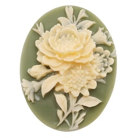 Vintage Style Lucite Oval Cameo Green With Ivory Flowers 40x30mm (1)
