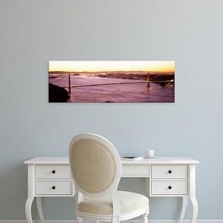 Easy Art Prints Panoramic Images's 'Bridge lit at dusk, Golden Gate Bridge, San Francisco Bay, California' Canvas Art