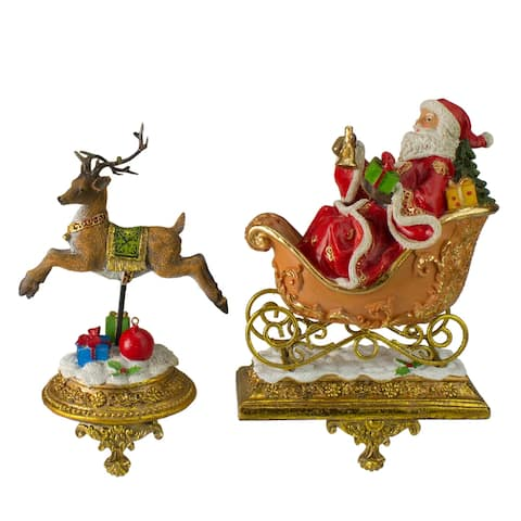 Set of 2 Gold Santa and Reindeer Glittered Christmas Stocking Holders 9.5""