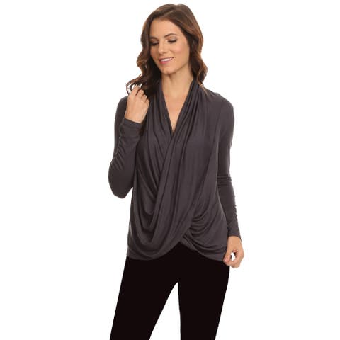Women's Long Sleeve Criss Cross Cardigan Made in USA GUNMETAL (Med)