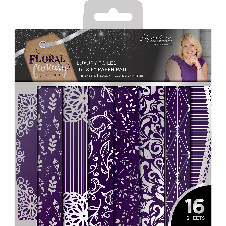 """2 Pack Sara Davies Signature Luxury 6/""""X6/"""" Paper Pad 16//Pkg-Floral Fantasy-Foil"""