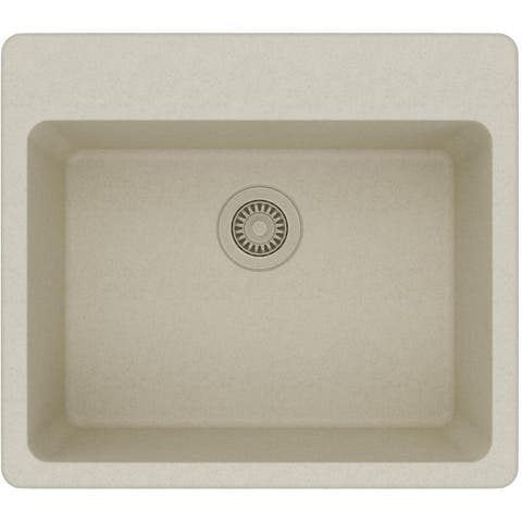 """Elkay ELG2522 Gourmet 25"""" Single Basin Granite Composite Kitchen Sink for Drop In Installations with 5 Pre-Scored Faucet Holes"""
