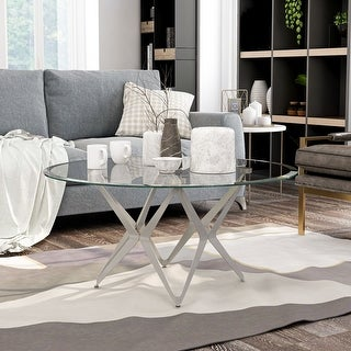 Link to Furniture of America Alma Modern Glass Top Metal Coffee Table Similar Items in Living Room Furniture