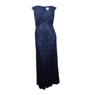 Patra Women's Sleeveless Chiffon Bodice Lace Skirt Dress