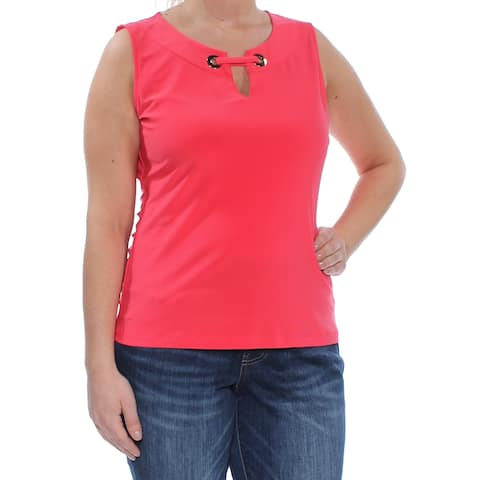 TOMMY HILFIGER Womens Coral Embellished Sleeveless Top Size: L