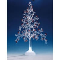 Pack of 2 Icy Crystal Illuminated Christmas Red Berry Tree Figures 20""
