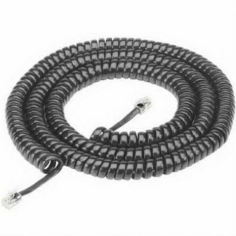 RCA TP282BLN Coiled Modular Handset Cord, Black, 25'