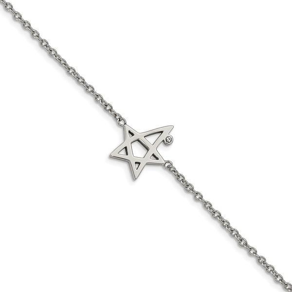 Chisel Stainless Steel High Polished Swarovski Crystals 7.5 Inch Star Bracelet. Opens flyout.
