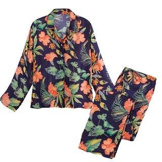 Catalog Classics Women's Hibiscus Satin Pajamas - Floral PJ Top and Lounge Pants