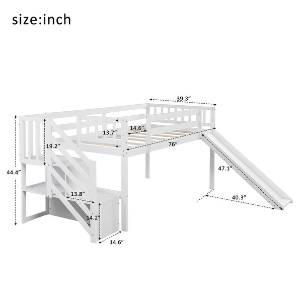 Twin Size Low Loft Bed with Adjustable Slide and Staircase, White