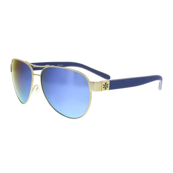 29a933e33411 Shop Tory Burch TY6051 304122 Gold Aviator Sunglasses - 60-14-140 ...