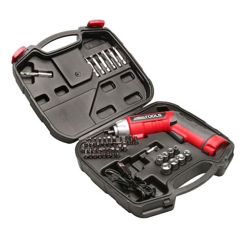 Great Working Tools 45 Piece Cordless Power Screwdriver Set - 3.6v Li-Ion Battery, Pivoting Head, Flashlight, Case
